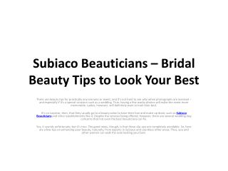 Subiaco Beauticians – Bridal Beauty Tips to Look