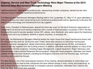 Superior Service and New Truck Technology Were Major Themes