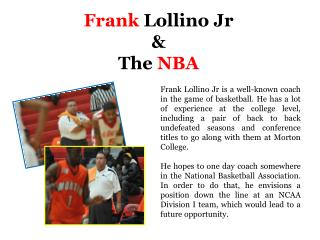 Frank Lollino Jr & the NBA