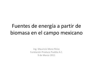 Fuentes de energ a a partir de biomasa en el campo mexicano