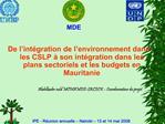 De l int gration de l environnement dans les CSLP   son int gration dans les plans sectoriels et les budgets en Mauritan