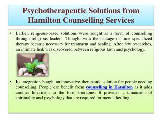 Psychotherapeutic Solutions from Hamilton Counselling Servic