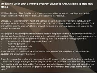 Innovative 'After Birth Slimming' Program Launched