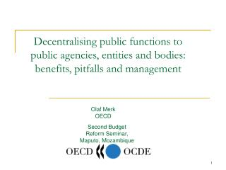 Decentralising public functions to public agencies, entities and bodies: benefits, pitfalls and management