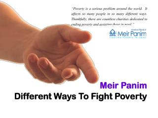 Meir Panim_Different Ways To Fight Poverty