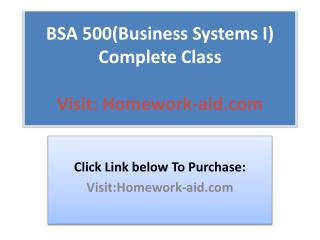 BSA 500(Business Systems I) Complete Class