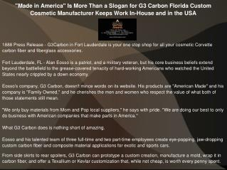 """Made in America"" Is More Than a Slogan for G3 Carbon"