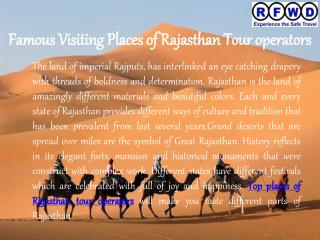 Famous Visiting Places of Rajasthan Tour operators