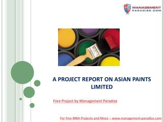 Free Project Report on Asian Paints Ltd