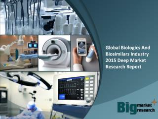 Global Biologics And Biosimilars Industry 2015 Deep Market R