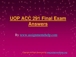 UOP ACC 291 Final Exam Answers