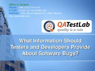 What Data Should be Provided About Software Bugs?