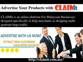 Advertise your products with CLAIMit