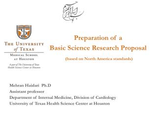Preparation of a  Basic Science Research Proposal  based on North America standards