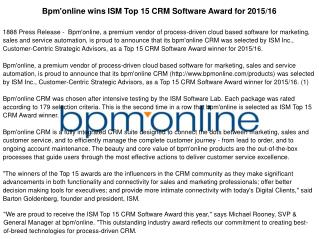 Bpm'online wins ISM Top 15 CRM Software Award for 2015/16