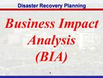 Business Impact Analysis BIA