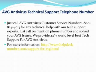 AVG Antivirus Technical Support Telephone Number (1-800-824-