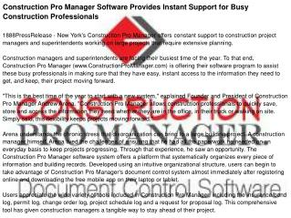 Construction Pro Manager Software Provides Instant Support