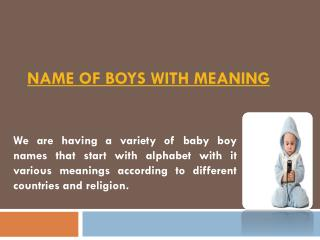 Name of Boys with Meaning