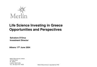 Life Science Investing in Greece Opportunities and Perspectives