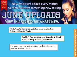 Bollywood Karaoke Tracks Uploaded in Month of June