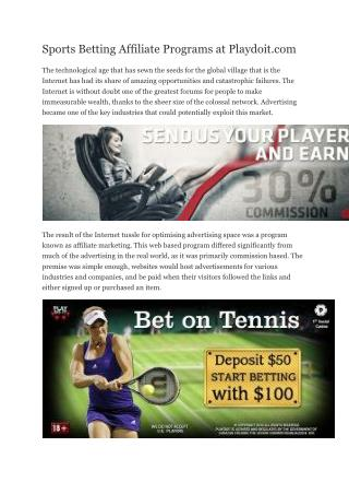 Sports Betting Affiliate Programs at Playdoit.com