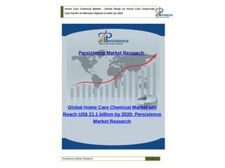 Global Home Care Chemicals Market to 2020