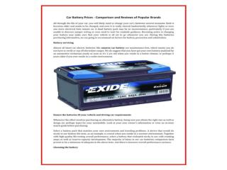 Buy Exide car battery online at competitive prices with warr