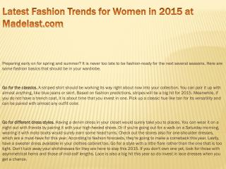 Latest Fashion Trends for Women in 2015 at Madelast.com
