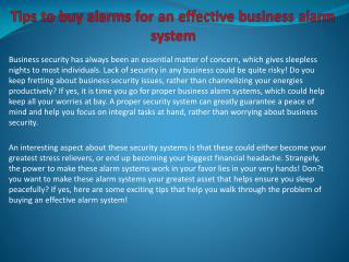 Tips to buy alarms for an effective business alarm system