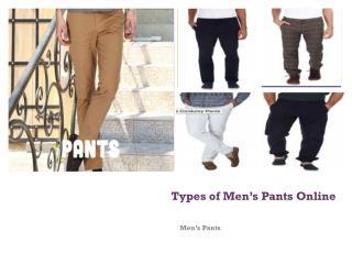 Type of Men's Pants