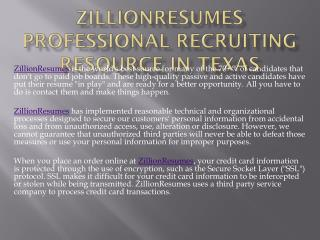 Zillionresumes Professional Recruiting Resource in Texas