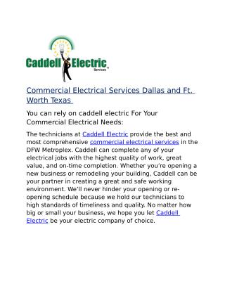 Commercial Electrical Services Dallas and Ft. Worth Texas