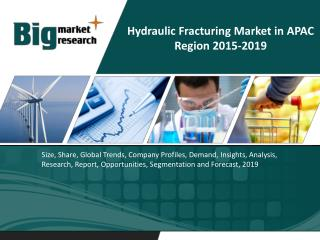 Hydraulic Fracturing Market in APAC Region 2019