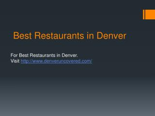 Best Restaurants in Denver