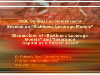 2006 Seminar on Reinsurance Session on  Riskiness Leverage Models    Discussions of  Riskiness Leverage Models  and  Ins
