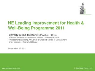 NE Leading Improvement for Health  Well-Being Programme 2011