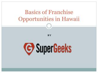 Basics of Franchise Opportunities in Hawaii