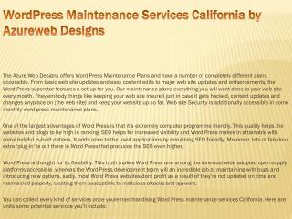 WordPress Maintenance Services California by Azureweb Design