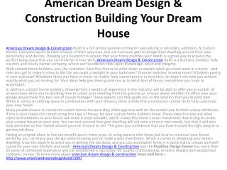 American Dream Design & Construction Building Your Dream Hou