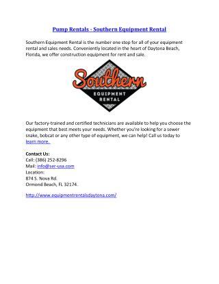 Pump Rentals - Southern Equipment Rental