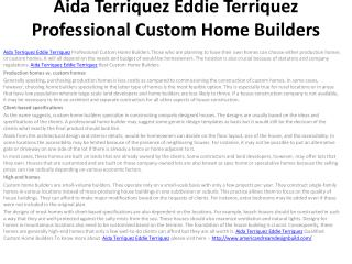 Aida Terriquez Eddie Terriquez Professional Custom Home Buil