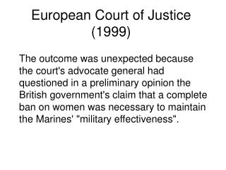 European Court of Justice 1999