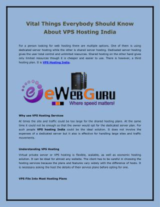 Vital Things Everybody Should Know About VPS Hosting India
