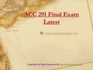 UOP ACC 291 Final Exam