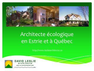 L'approche d'un architecte écologique comme David Leslie