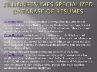 ZillionResumes Specialized Database of ResumesZillionResumes