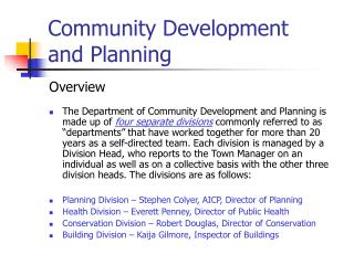Community Development  and Planning