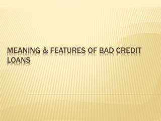 Meaning And Features Of Bad Credit Loan