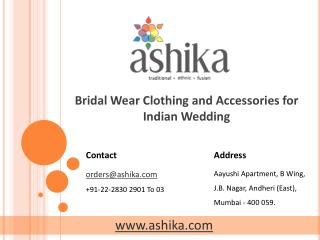 Bridal Wear Clothing and Accessories for Indian Wedding